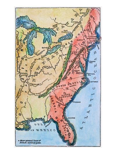 Colonial America Map--Giclee Print