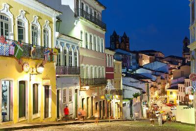 Colonial Centre at Dusk, Pelourinho, Salvador, Bahia, Brazil-Peter Adams-Photographic Print