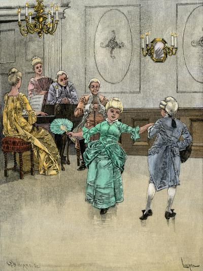 Colonial Children Learning to Dance the Minuet--Giclee Print