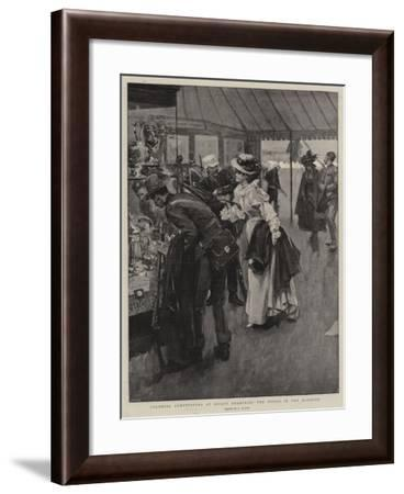 Colonial Competitors at Bisley Examining the Prizes in the Marquee--Framed Giclee Print