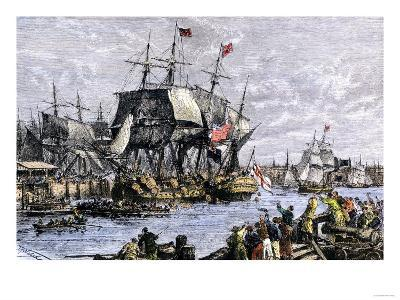 Colonial Protestors Emptying Tea during the Boston Tea Party, c.1773--Giclee Print