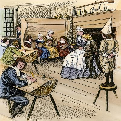 Colonial Schoolroom with a Child in a Dunce Cap--Giclee Print