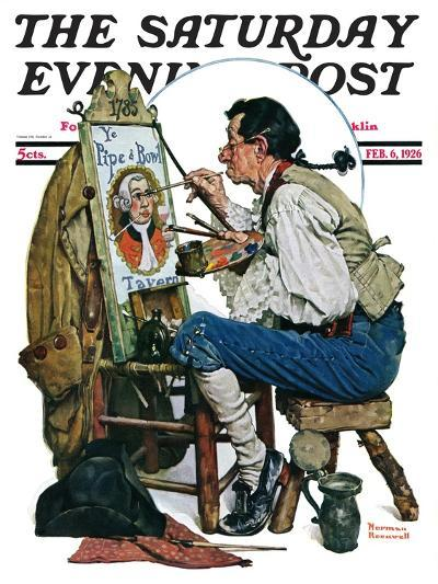 """""""Colonial Sign Painter"""" Saturday Evening Post Cover, February 6,1926-Norman Rockwell-Giclee Print"""