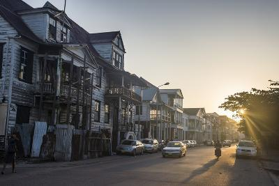 Colonial Wooden Buildings at Sunrise, Paramaribo, Surinam, South America-Michael Runkel-Photographic Print