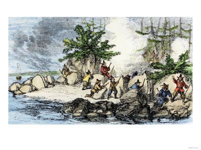 Colonists and Native Americans Battling in Tiverton, Rhode Island, during King Philip's War, c.1600--Giclee Print