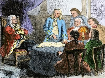 Colonists Discussing the Connecticut Charter Wih King Charles Ii--Giclee Print