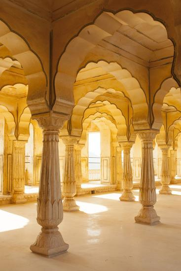 Colonnaded gallery, Amber Fort, Jaipur, Rajasthan, India.-Inger Hogstrom-Photographic Print