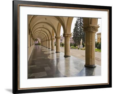 Colonnaded Marble Walkway at Joseph Stalin Museum-Tim Makins-Framed Photographic Print