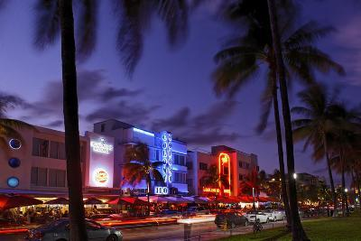 Colony Hotel, Facade, Ocean Drive at Dusk, Miami South Beach, Art Deco District, Florida, Usa-Axel Schmies-Photographic Print