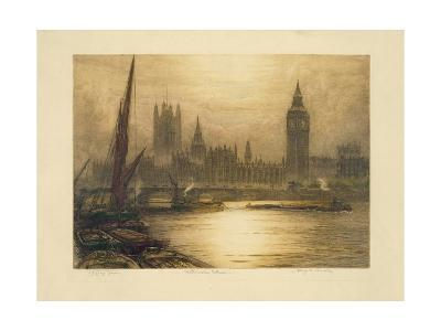 Color Etching of Westminster--Giclee Print