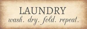 Aged Laundry Sign - Wash Dry Fold Repeat by Color Me Happy