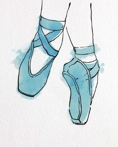 Ballet Shoes En Pointe Blue Watercolor Part II by Color Me Happy