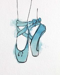 Ballet Shoes En Pointe Blue Watercolor Part III by Color Me Happy