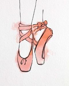 Ballet Shoes En Pointe Orange Watercolor Part III by Color Me Happy