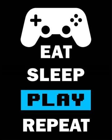Eat Sleep Game Repeat - Black and Blue by Color Me Happy