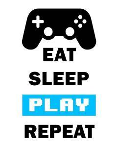 Eat Sleep Game Repeat - White and Blue by Color Me Happy