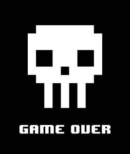 Game Over - White Skull by Color Me Happy