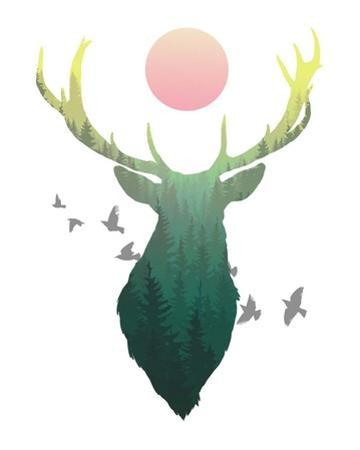 Green Ombre Forest in Stag Silhouette by Color Me Happy