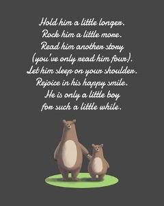 Hold Him A Little Longer Bear And Cub Gray by Color Me Happy