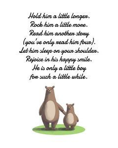 Hold Him A Little Longer Bear And Cub White by Color Me Happy