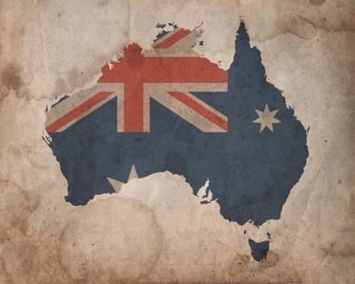 Map with Flag Overlay Australia by Color Me Happy