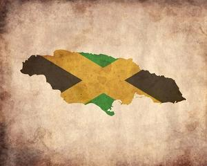 Map with Flag Overlay Jamaica by Color Me Happy