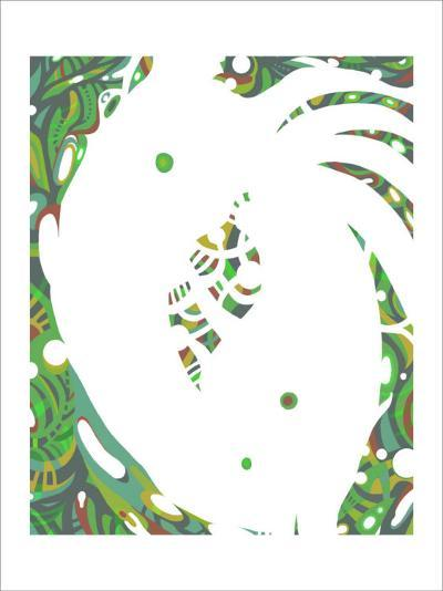Color Melody: July Energetic Leaf and Fresh Green Light and the Dripping-Kyo Nakayama-Giclee Print
