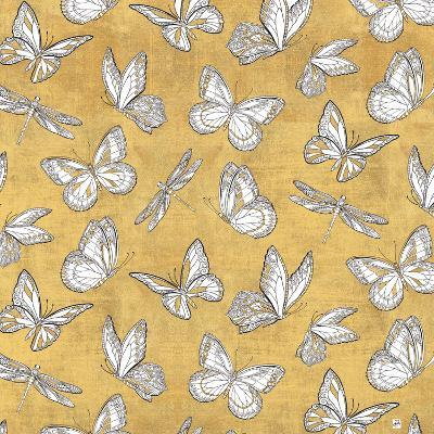 Color my World Butterfly Pattern Gold-Daphne Brissonnet-Art Print