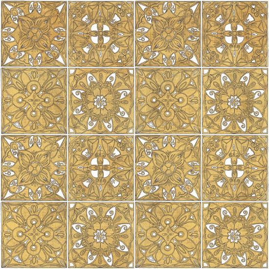 Color my World Mexican Tiles Pattern Gold-Daphne Brissonnet-Art Print