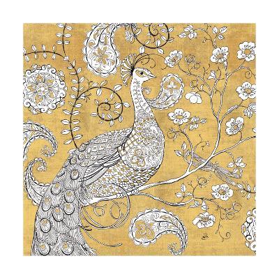 Color my World Ornate Peacock I Gold-Daphne Brissonnet-Art Print