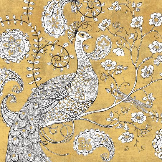 Color my World Ornate Peacock I Gold-Daphne Brissonnet-Art Print