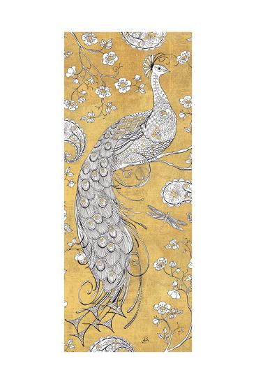 Color my World Ornate Peacock II Gold-Daphne Brissonnet-Art Print