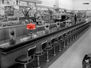 Color Pop,1950s 1960s INTERIOR OF LUNCH COUNTER WITH CHROME STOOLS, Living Coral