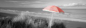 Color Pop, Beach umbrella on the beach, Saunton, North Devon, England, Living Coral