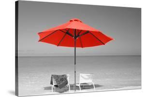 Color Pop, Chairs Under An Umbrella On The Beach, Turks And Caicos Islands, North Atlantic Ocean