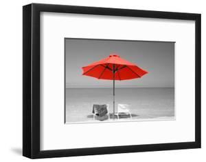 Color Pop, Chairs Under An Umbrella On The Beach, Turks And Caicos Islands, North Atlantic Ocean