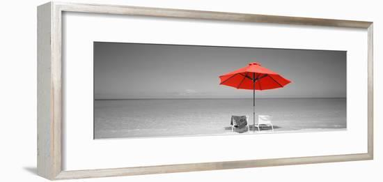 Color Pop, Chairs Under An Umbrella On The Beach, Turks And Caicos Islands, North Atlantic Ocean--Framed Photographic Print