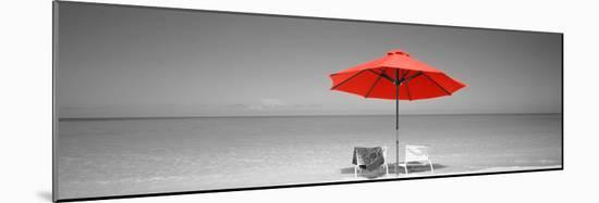 Color Pop, Chairs Under An Umbrella On The Beach, Turks And Caicos Islands, North Atlantic Ocean--Mounted Photographic Print