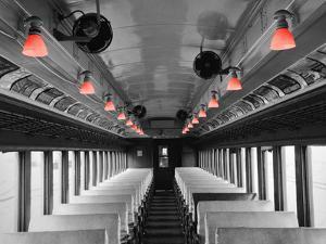 Color Pop, Empty coach of a train, USA, Living Coral