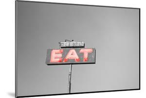 Color Pop, Low angle view of an old sign board, Highway 395, California, USA, Living Coral