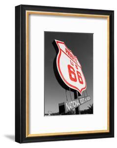 Color Pop, National Route 66 Museum sign, Elk City, Beckham County, Oklahoma, USA, Living Coral
