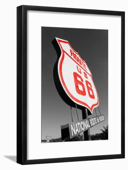 Color Pop, National Route 66 Museum sign, Elk City, Beckham County, Oklahoma, USA, Living Coral--Framed Photographic Print