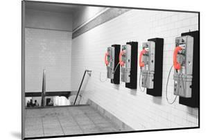 Color Pop, Pay Phones in Subway Station New York New York USA, Living Coral