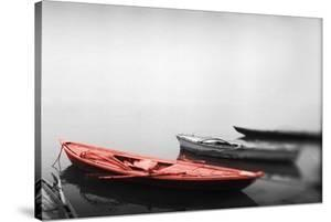 Color Pop, Row boats in a river, Ganges River, Varanasi, Uttar Pradesh, India, Living Coral