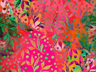 Color Watercolor Leaf Pattern-Lebens Art-Art Print