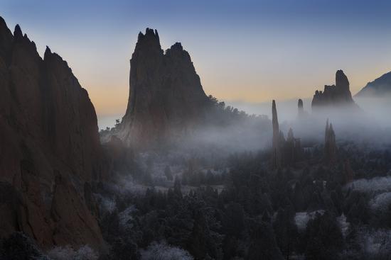 Colorado, Colorado Springs. Morning Fog in Garden of the Gods Park-Don Grall-Photographic Print