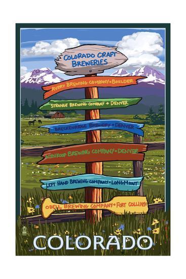 Colorado - Craft Breweries Singpost-Lantern Press-Art Print