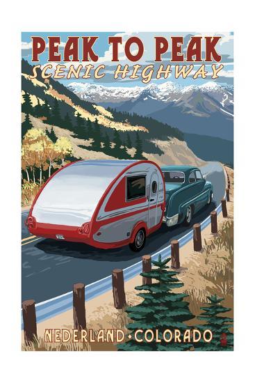 Colorado - Fall Retro Camper-Lantern Press-Art Print