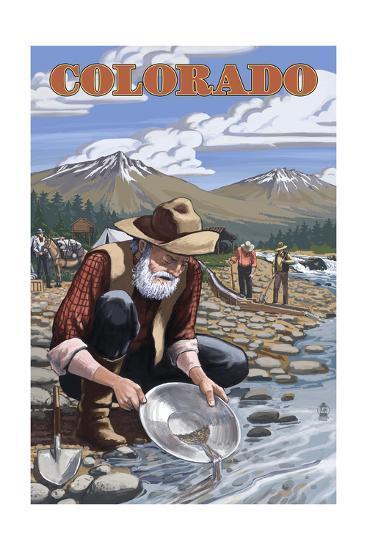Colorado - Gold Panner-Lantern Press-Art Print