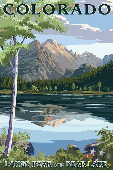 Colorado - Longs Peak and Bear Lake Summer-Lantern Press-Art Print